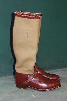 Vintage Riding Boots 1930s Leather Canvas size 8-9 ? hunting Brown newmarket men