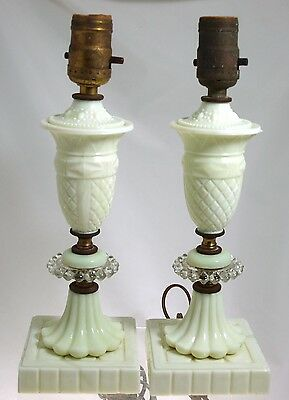 Akro Agate Glass -  Pair Custard Boudior Lamps