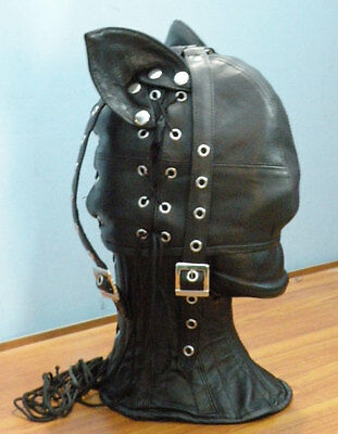 Real leather CAT mask hood gimp cuir mask slave air tight kink  halloween