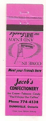 Jacob's Confectionery Ice Cream Tobacco Candy Dunnville ON Ontario Matchcover