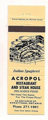 Acropol Restaurant and Steak House 88 Ontario St. Stratford ON Matchcover 013017