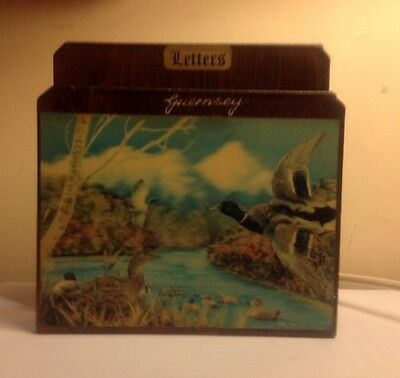 Letter Rack, Wood With Lenticular 3D Picture Of Mallard Ducks.guernsey