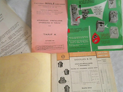 vintage Catalogue Brochure 1959 Soulé Electric Switches and Fittings french