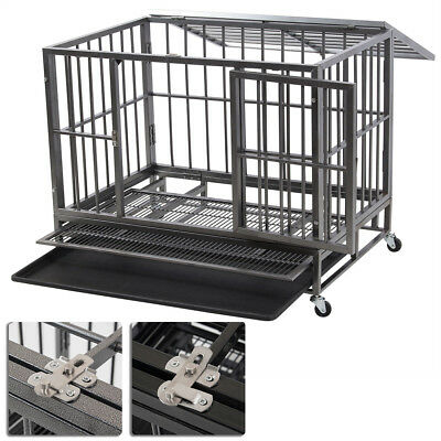 """New 36"""" Heavy Duty Dog Pet Animal Crate Cage Kennel with Wheels Black / Silver"""