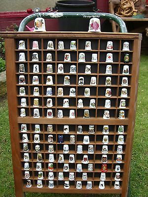 Vintage Printers Letterpress Tray Shadow Box With Old Thimble Display