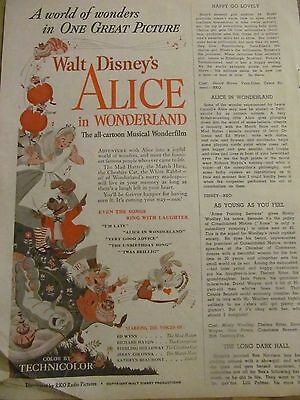 Alice in Wonderland, Walt Disney, Vintage Promotional Ad
