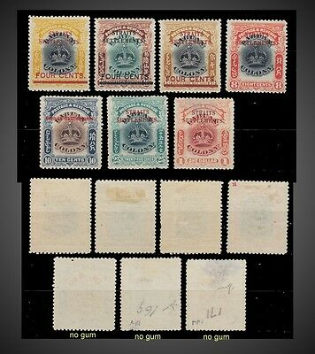 1907  Straits Settlements Incomplete Issue Mint Hinged + No Gum Sct 137 -144