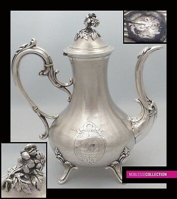 ELEGANT ANTIQUE 1850s FRENCH FULL STERLING SILVER COFFEE POT Napoleon III period