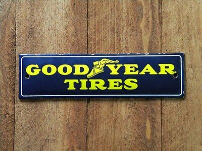 """GOOD YEAR TIRES PORCELAIN METAL SIGN ~7-3/4"""" x 2-1/8"""" GAS STATION OIL PUMP TYRES"""
