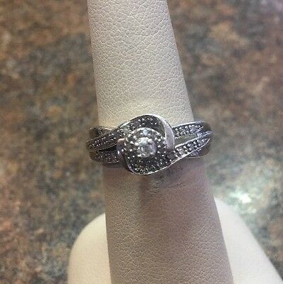 E C Sterling Silver And Natural Diamond Ring Size 7