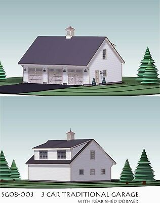 GARAGE PLANS BLUEPRINTS 3 CAR TRADITIONAL w SHED DORMER