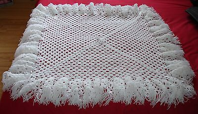 New All White  Hand Made Crocheted Baby Blanket / Shawl