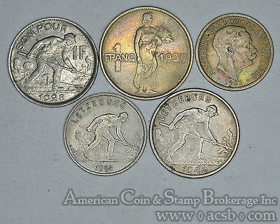 Luxembourg 1901 1928 1939 1946 1952 10 centimes & 1 franc 5 Coin lot type set