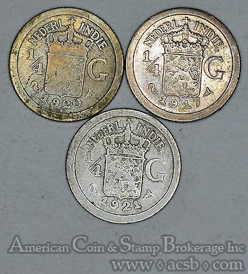 Netherlands East Indies 1/4 Gulden 1917 1920 1921 silver 3 Coin Lot Gold Tone