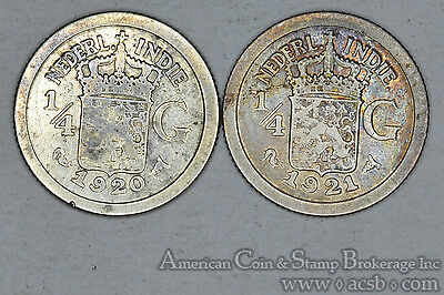 Netherlands East Indies 1/4 Gulden 1920 1921 silver 2 Coin Lot Gold Tone
