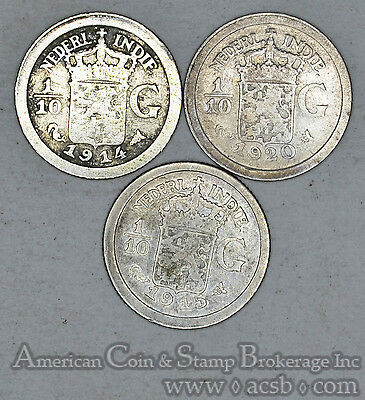 Netherlands East Indies 1/10 Gulden 1914 1915 1920 silver 3 Coins Gold Tones