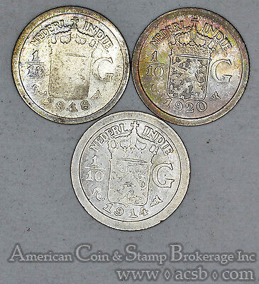 Netherlands East Indies 1/10 Gulden 1914 1918 1920 silver 3 Coins Gold Tones