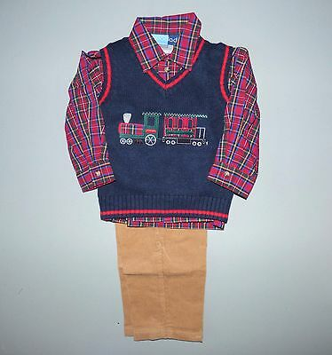 GOOD LAD® Baby Boys' 24M Holiday Train 3 Pc. Sweater Vest Set NWT $58