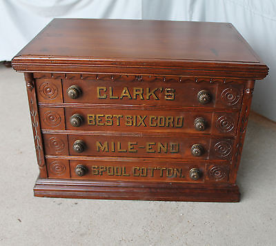 Antique Clark's four drawer Spool Cabinet - Country Store
