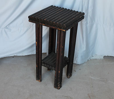 Antique Adirondack Log Small Table - pedestal Stand