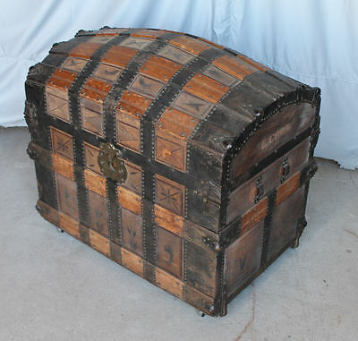 Antique Leather Trunk Oak straps -1866 - Hump Back Trunk - Early Primitive