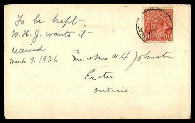 1 rate franking cover to Exeter Ontario Canada from Australia