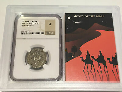 Money of the Bible 58 BC Indo-Scythians Azes I/II Tretradrachm NGC XF Extra F...