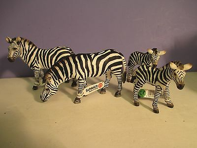 Schleich LOT of (4) ZEBRA - 2 Adults, 2 Foals with tags