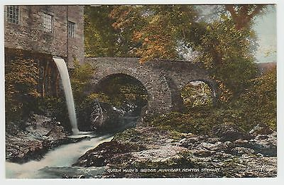 Old Mill Lade, Minnigaff Bridge, Newton Stewart: 1921-23 Vintage Tinted PPC, VG.