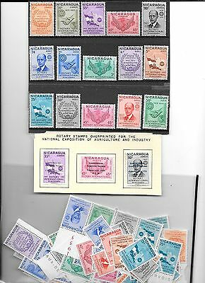 NICARAGUA(ROTARY International)- 1955 set(15 values) in multiples ( 230 stamps)