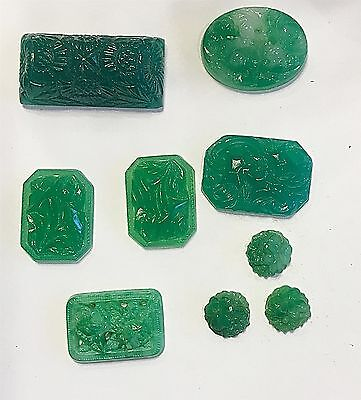Vintage Stunning Carved Jade Green Glass Flower & Deco Jewels 9 Pieces #ct