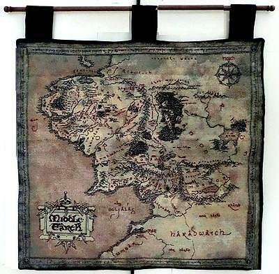 Tolkien ~ Lord Of The Rings ~ Tapestry Map Of Middle-Earth ~ Wall Hanging