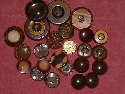 N9 Vintage Lot of 23 early plastic, celluloid, mix deco buttons