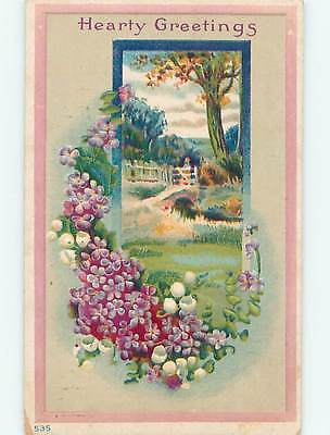 Divided-Back BRIDGE SCENE & LILY OF THE VALLEY FLOWERS o9422