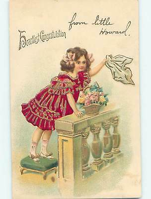 Divided-Back CUTE GIRL ON STEPPING STOOL WAVING HER HANKERCHIEF o7409