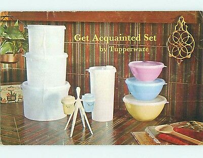 1973 advertising postcard TUPPERWARE - GET ACQUAINTED SET - PARTY DATE r5135