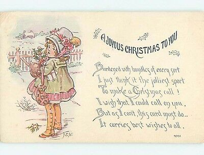 Divided-Back christmas signed CUTE GIRL IN HAT CARRIES DOLL IN THE SNOW o3933