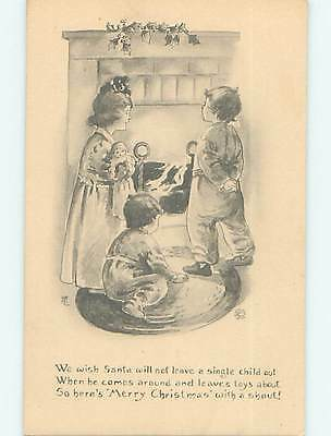 Unused Divided-Back christmas GIRL WITH DOLL & BOYS AT THE FIREPLACE o4386