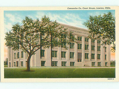 Unused Linen COURT HOUSE Lawton Oklahoma OK n4475