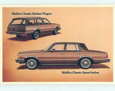 Unused 1970's car dealer postcard CHEVROLET MALIBU CLASSIC SEDAN & WAGON o8335