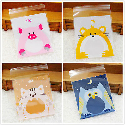 100Pcs Cute Animals Candy Cake Biscuits Cookies  Self-adhesive Packaging Bags