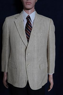 VTG '80s Kingsridge 2 button beige 100% pure silk sport coat blazer 40
