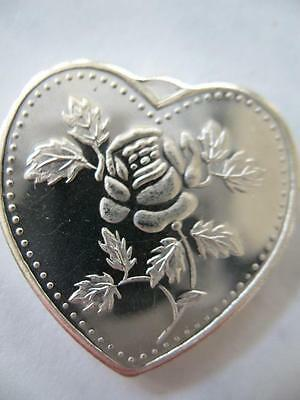 1/2 Oz. Silver.999 Heart Shaped Charm In Rose For Valentine's  Day Gift + Gold