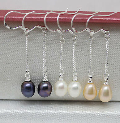 3 pairs white pink black real pearl dangle earrings chain Jewelry gem stone hook