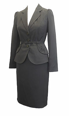 New Retro Vintage style 1940's/50s Pin stripe fitted Pinup wiggle skirt suit