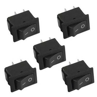 5Pcs Small Mini Boat On/Off Rocker Switch Snap-in 2-Pin Black Plastic Button