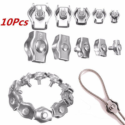 US Stock 10pcs 2mm 304/A2 Stainless Steel Wire Rope Simple Grip Cable Clamp