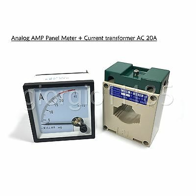 US Stock AC 0 ~ 20A Analog AMP Current Panel Meter Ammeter & Current Transformer