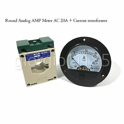 AC 0~20A Round Analog AMP Current Panel Meter Ammeter & Current Transformer