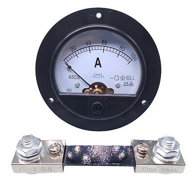 DC 0 ~ 100A Round Analog AMP Current Pointer Needle Panel Meter Ammeter & Shunt